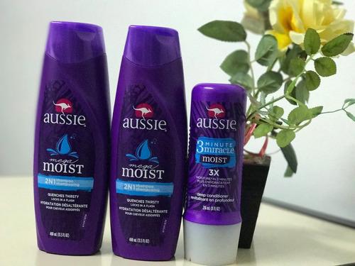 kit aussie shampoo + shampoo + 3 minute miracle moist