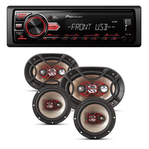 kit auto falante universal + toca rádio carro mp3 player usb
