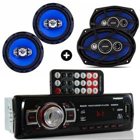 Kit Auto Radio Mp3 Bluetooth E Falante 6 E Falante 6x9 Pol