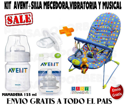 kit avent mamadera+chupete+tetinas+silla vibratoria-musical