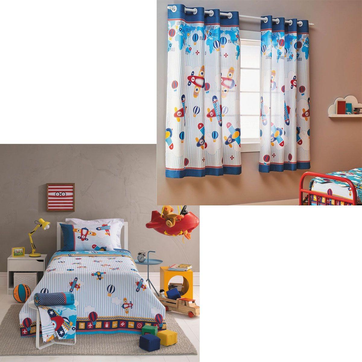 841c93b545 kit aviões infantil menino cortina + jogo cama santista kids. Carregando  zoom.