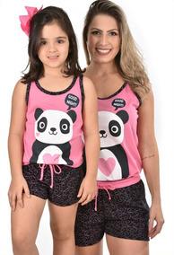 e0a5195f147d20 Kit Baby Doll Mãe E Filha Panda Pijama Verão Curto Short