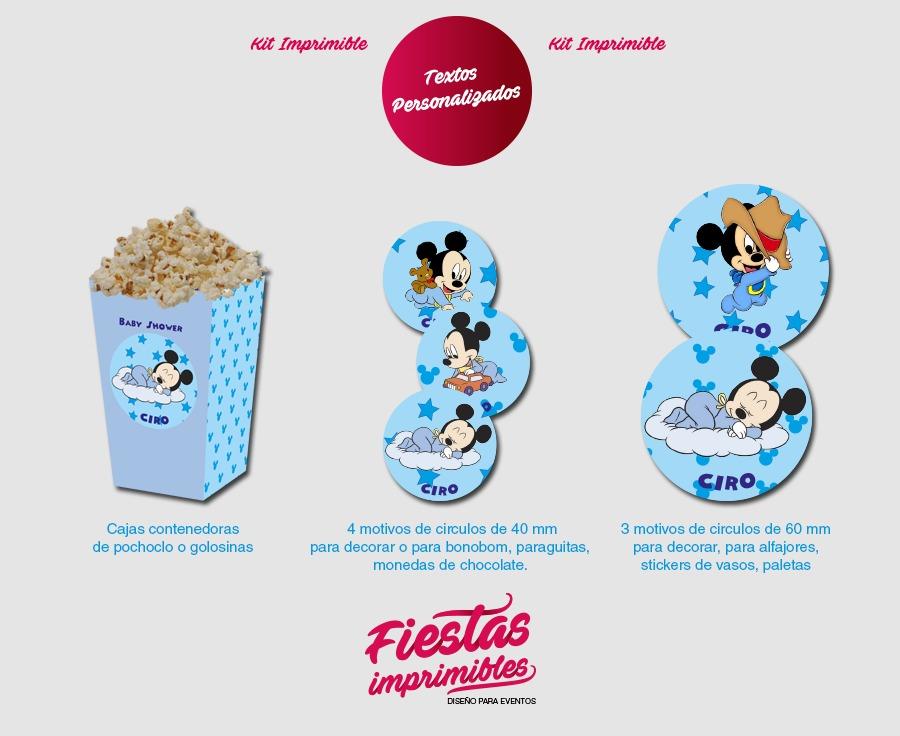 Kit Imprimible Baby Shower Varon Mickey Bebe Con Juegos 150 00
