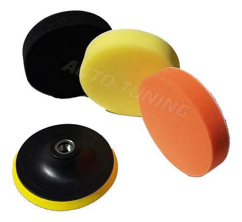 kit backing 5 pulgadas + 3 pads de pulido rosca m14