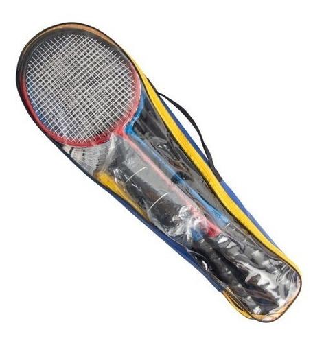 kit badminton 4 raquetes 2 petecas 1 rede 1 suporte + bolsa