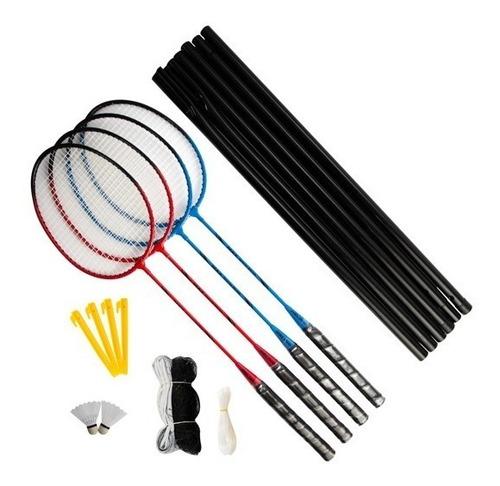 kit badminton 4 raquetes 2 petecas 1 rede 1 suporte e bolsa