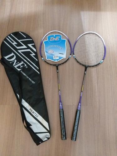 kit badminton com 2 raquetes e a raqueteira