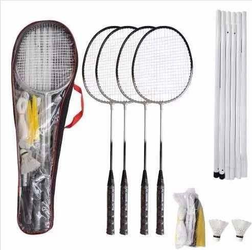 kit badminton completo 4 raquetes 2 petecas 1 rede