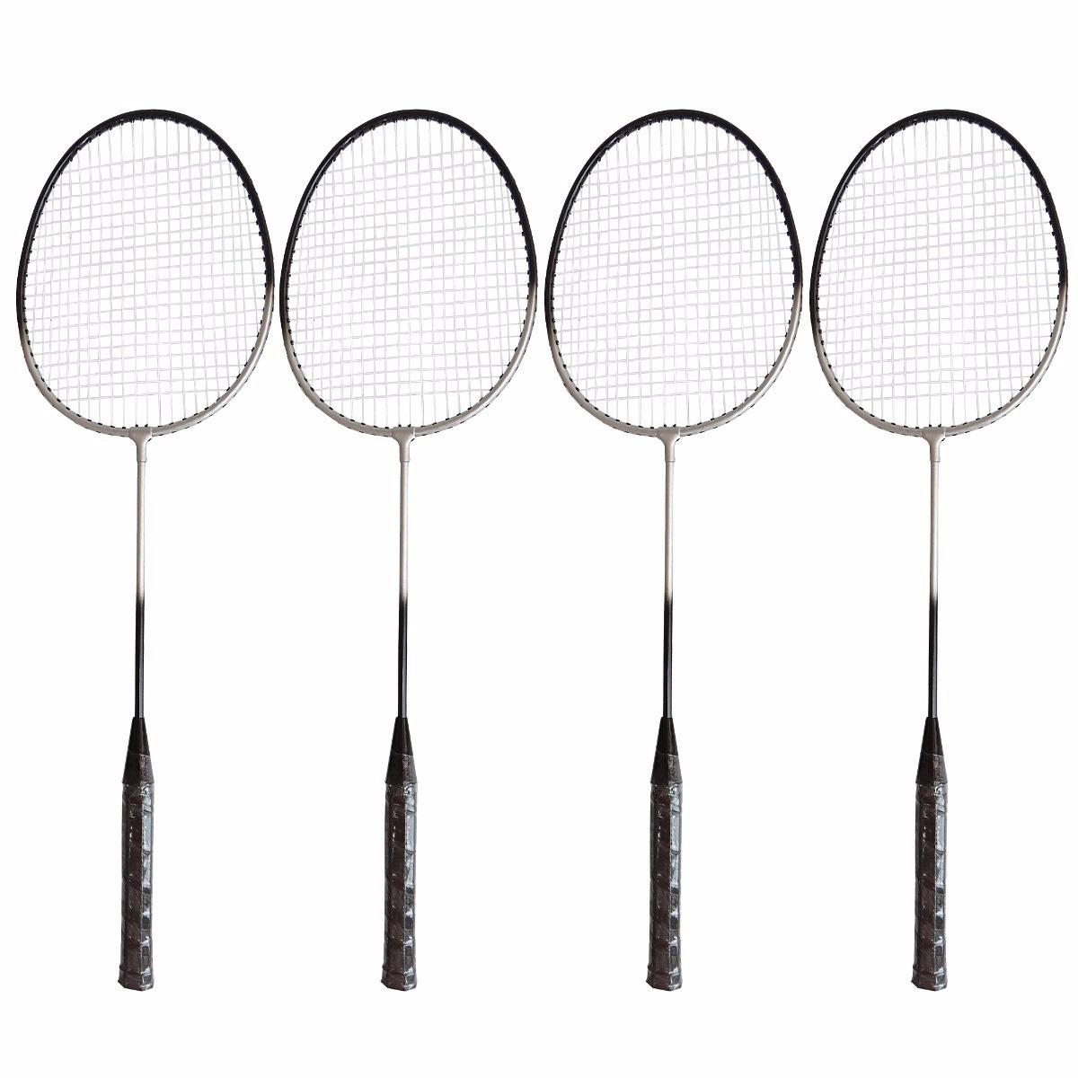 8d2aed18944ef Kit Badminton Pro 4 Raquetes 2 Petecas C  Rede E Suporte - R  116