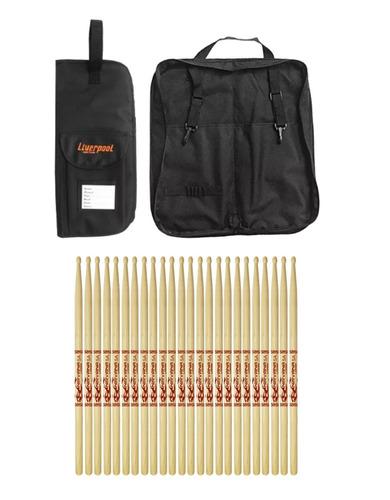 kit bag baquetas bag 01p + 12 pares de baquetas ni dz5am