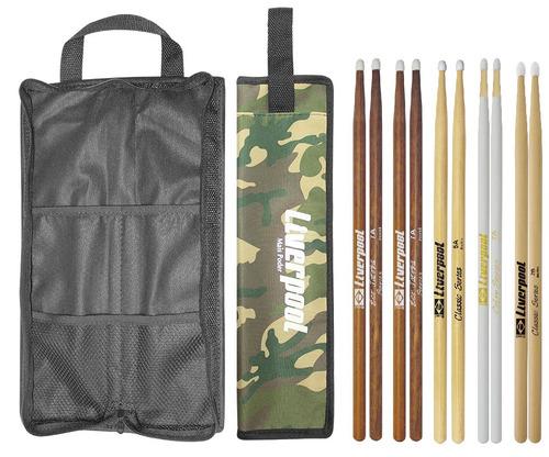 kit bag com02 + set de baquetas 5 pares liverpool