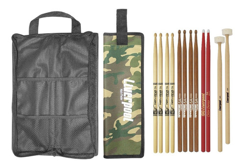 kit bag com02 + set de baquetas 6 pares liverpool