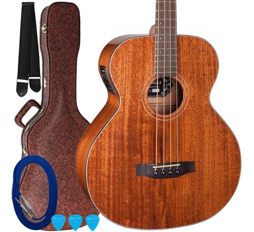 kit baixolão eagle emb90ce elétrico 4 cordas natural + case