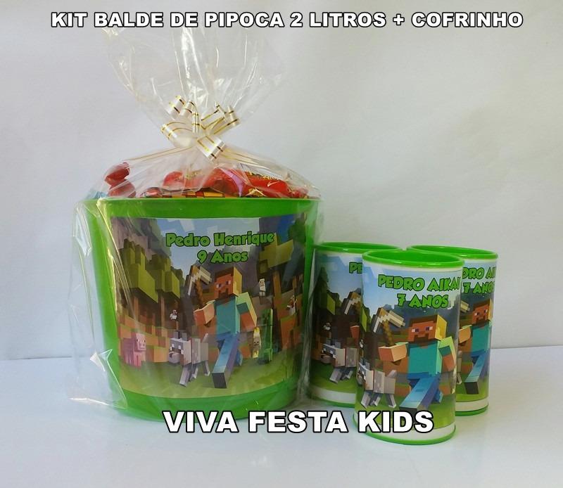 6c288d8ba Kit Balde De Pipoca Lembrancinha Personalizado+cofrinho C 30 - R ...