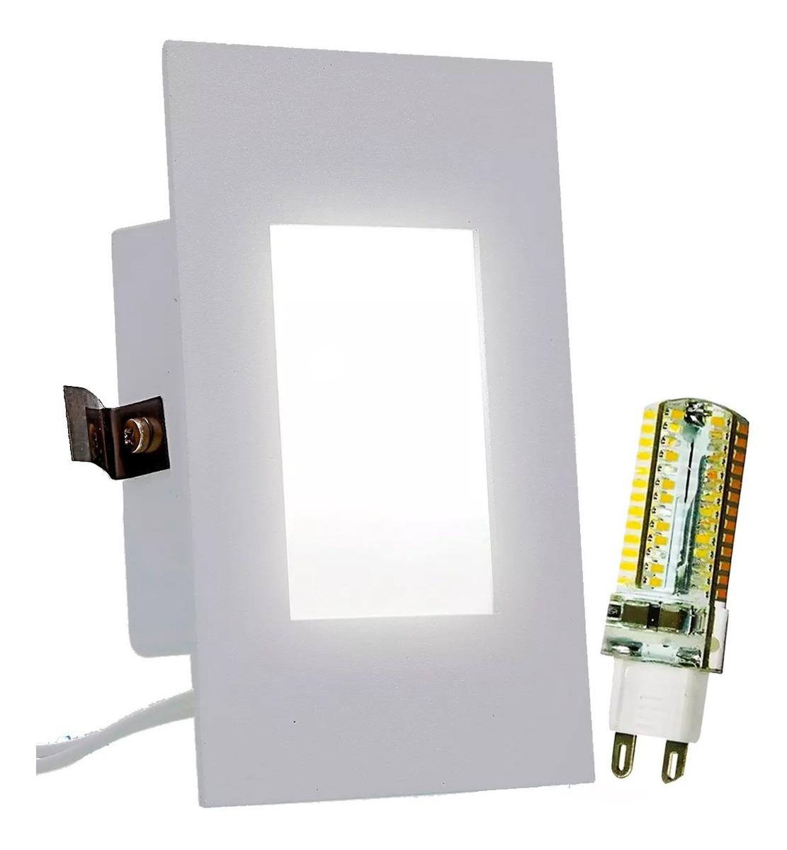 Kit Balizador Embutir 4x2 P Escada Corredor Lampada Led G9 R