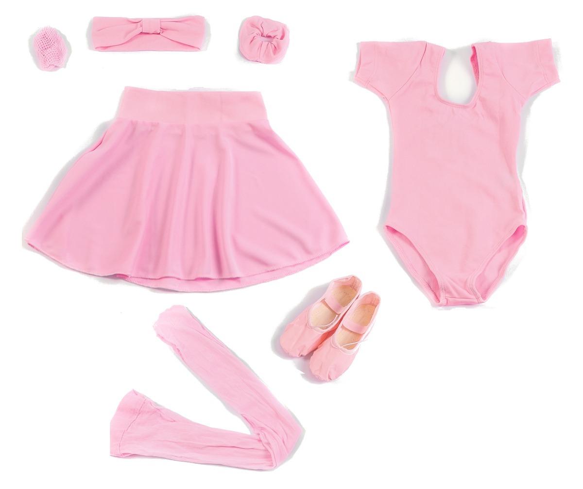 f0fc12dd80 Kit Ballet Juvenil Completo 6 Peças Rosa 1 2 Manga - R  89