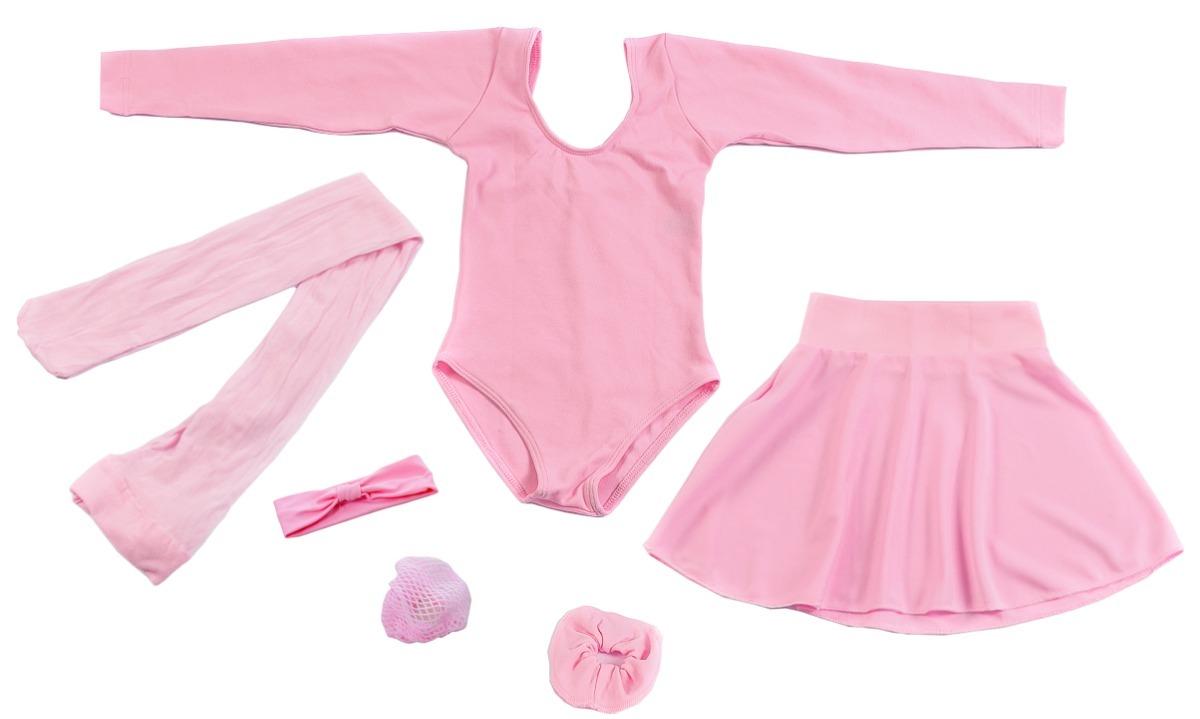 bb96d6cb1f kit ballet juvenil completo 6 peças rosa manga longa. Carregando zoom.