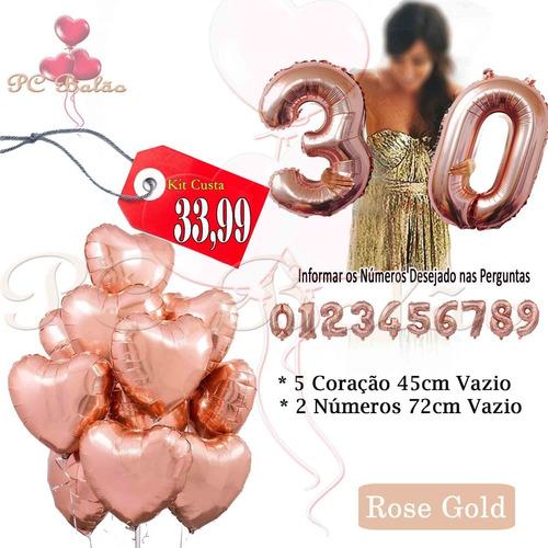 kit balão metalizado 2 números 72cm + 5 coração 45cm rose go