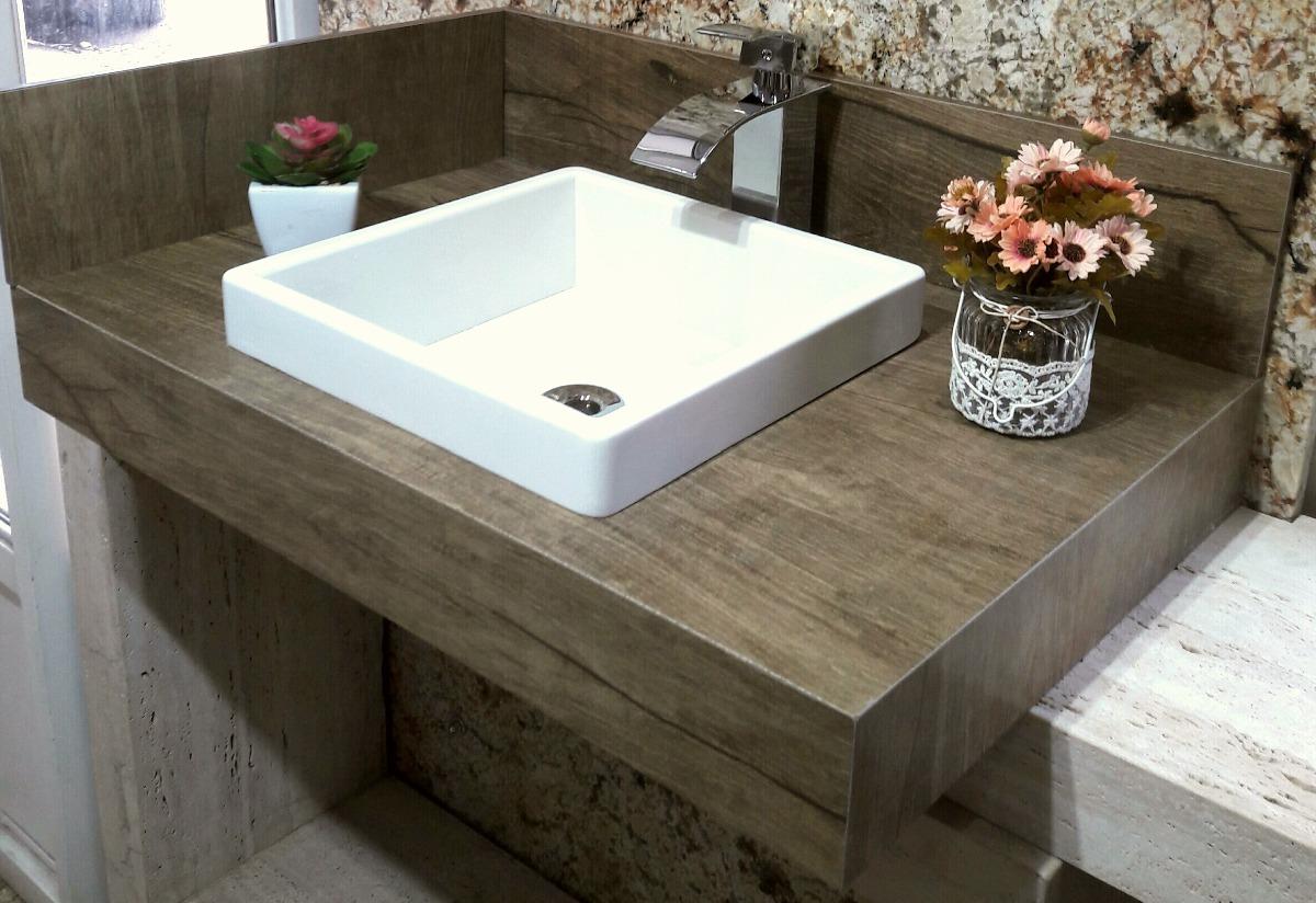 Kit Bancada Banheiro Vidro : Kit bancada de banheiro porcelanato amadeirado cuba