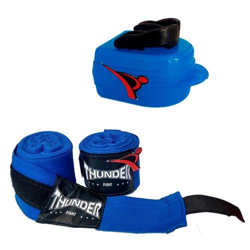 kit bandagem atadura elástica 4mt thunder e protetor bucal
