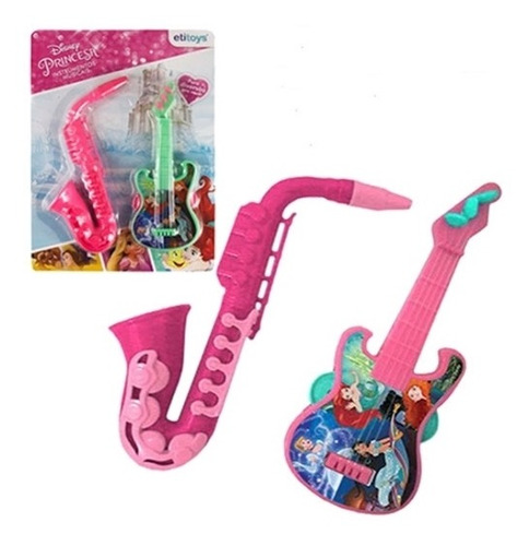 kit bandinha guitarra saxofone princesas disney 2 peças mini