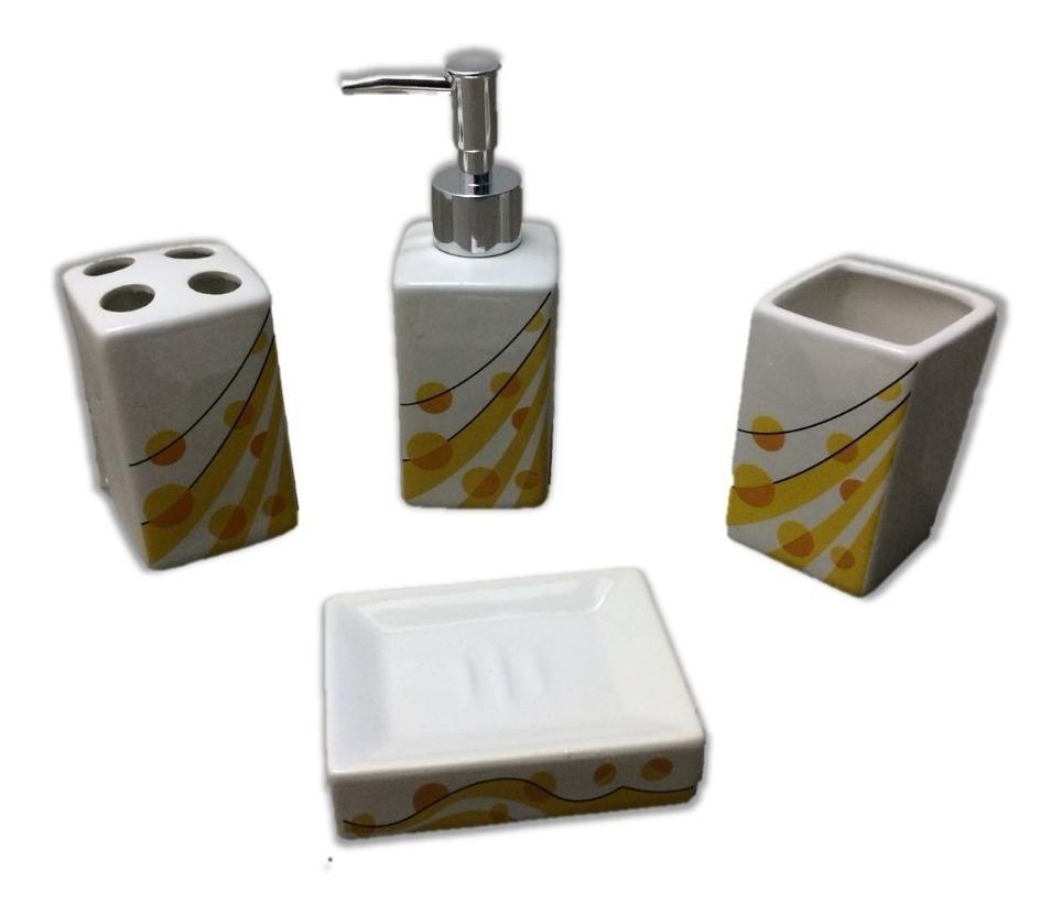 Kit Banheiro 4 Pç Porcelana Porta Sabonete Líquido Escova Aa