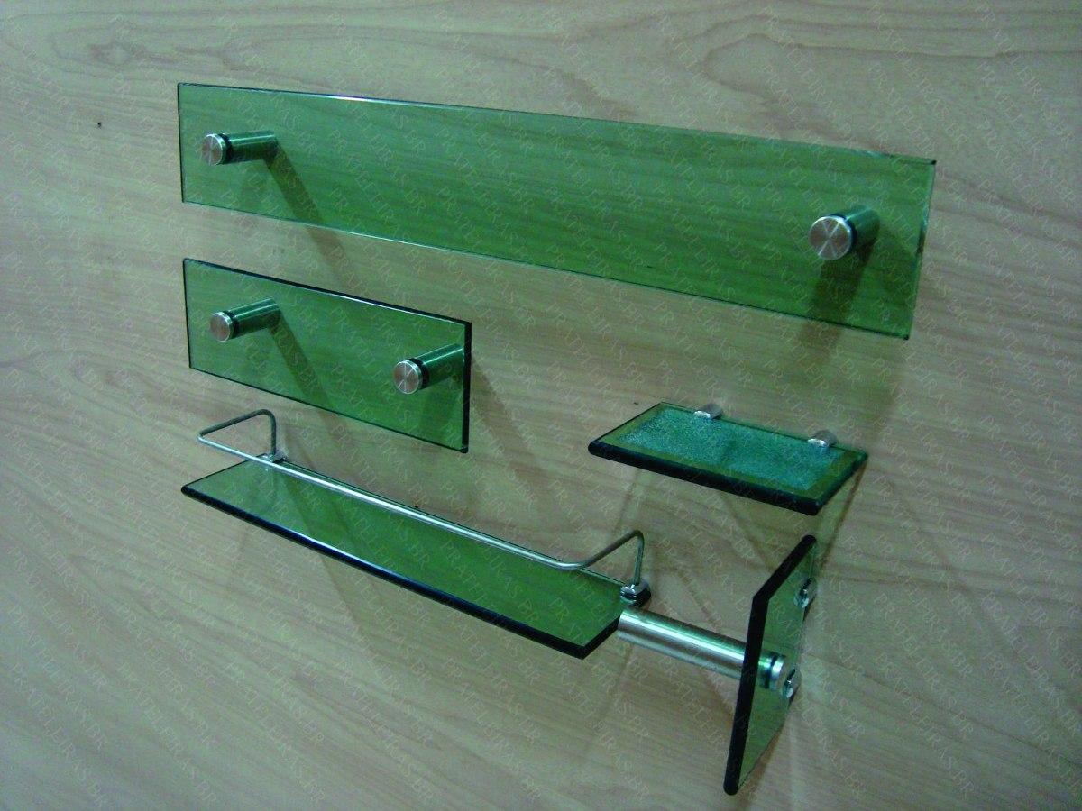 Kit Banheiro 5 Peças Vidro De 10mm Lapidado Verde Pt30r R$ 109 97  #2A9CA1 1200 900