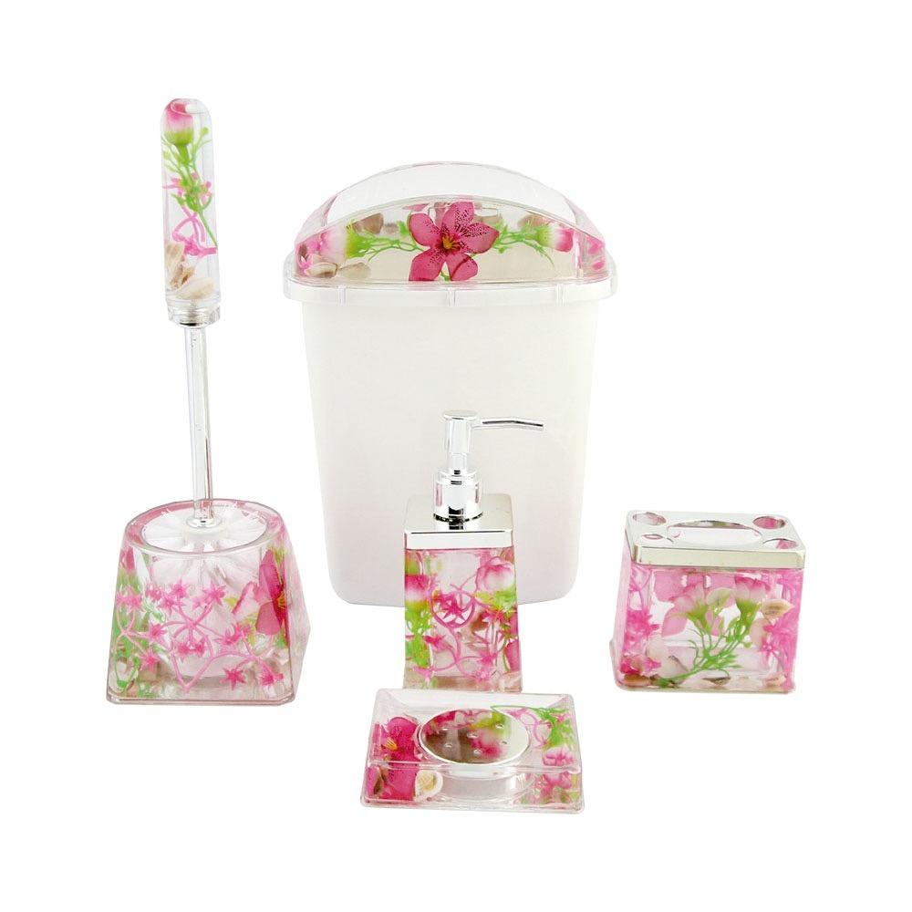 Kit Para Banheiro Em Acrílico : Kit banheiro acr?lico pecas decorado lixeira barato