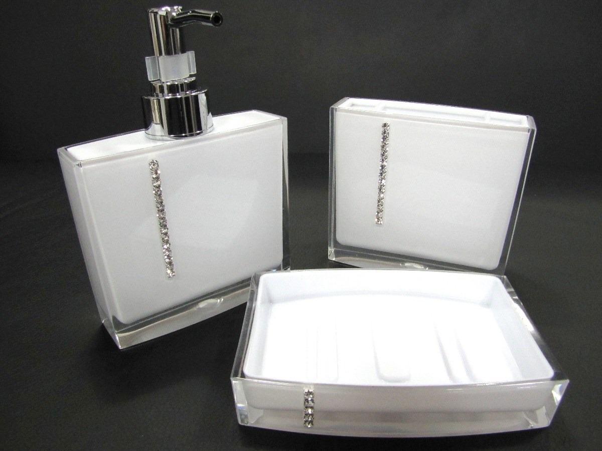 Kit Banheiro Acrilico Strass 3 Pçs Saboneteira Porta Escova  R$ 69,78 em Mer -> Saboneteira Para Pia De Banheiro
