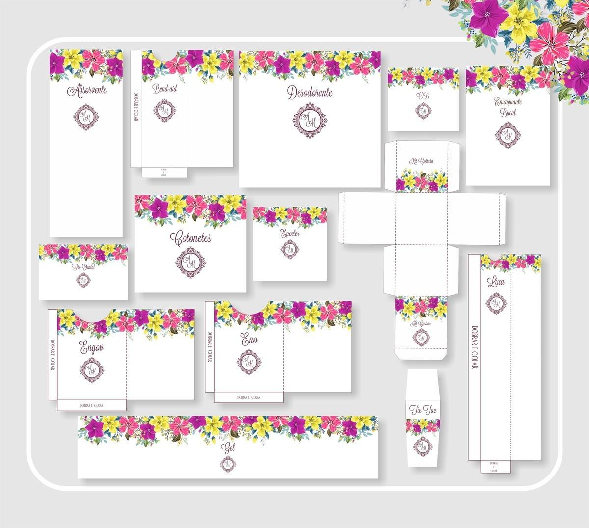 Kit Banheiro Casamento Floral Roxo E Amarelo Arte Digital R