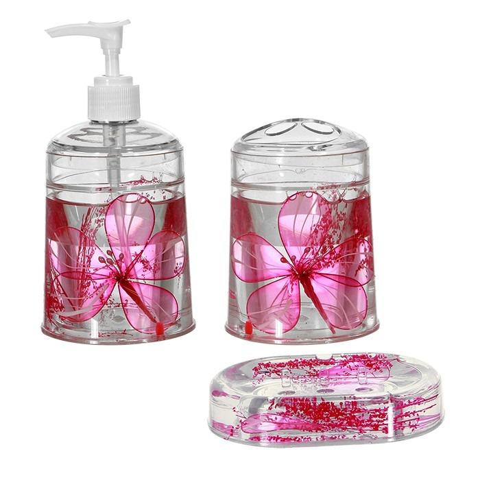 Kit Banheiro 3 Peças Lixeira Inox 2 Peças : Kit banheiro com pe?as em acrilico rosa r