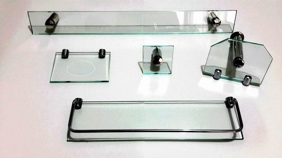 Kit Banheiro Inox Meber : Kit banheiro com pe?as em vidro e inox modelo luxo