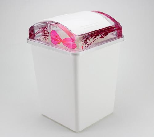 kit banheiro em acrílico c/ lixeira porta sabonete escova