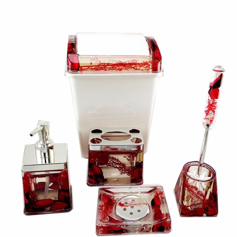 Kit De Banheiro Em Acrilico : Kit banheiro em acr?lico c lixeira porta sabonete escova
