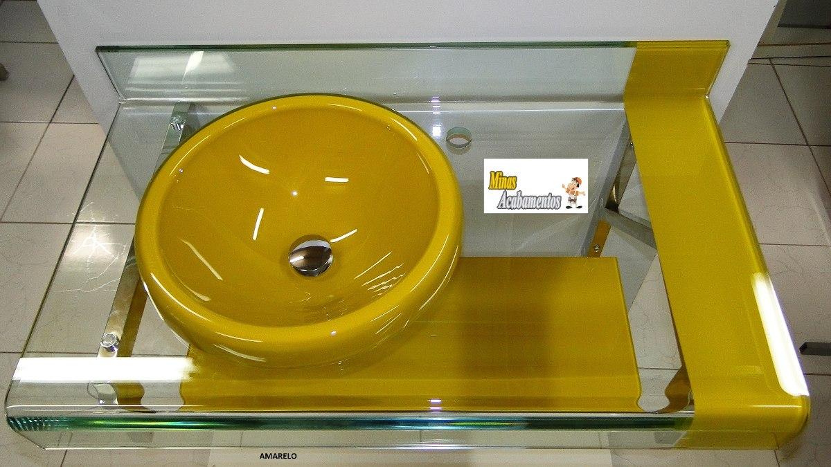 Kit Bancada Banheiro Vidro : Kit banheiro gabinete espelheira est chopin astra cores