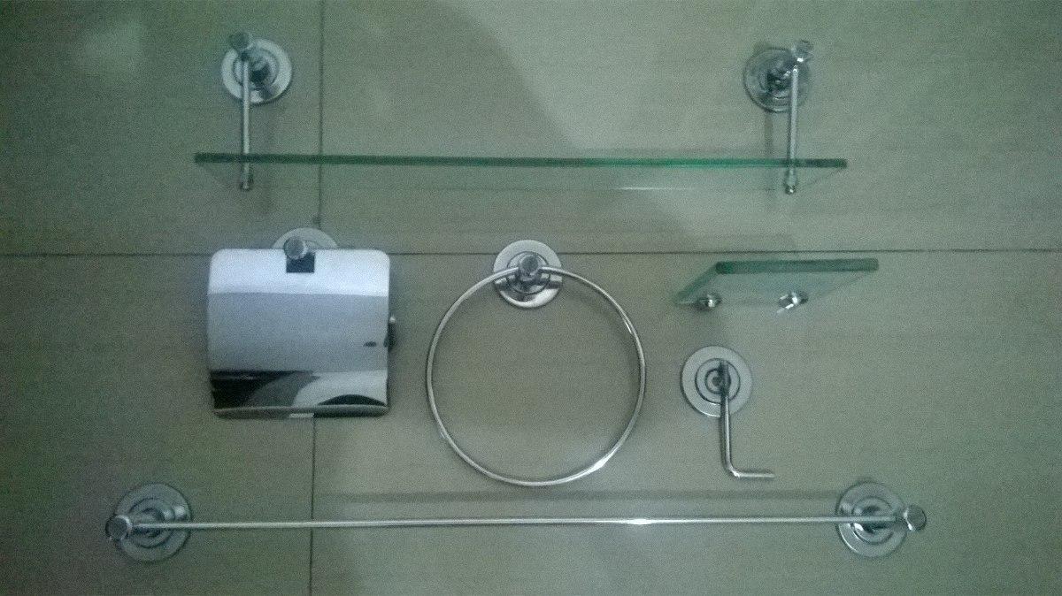 Kit Banheiro Inox Meber : Kit banheiro inox c porta shampoo e saboneteira de vidro