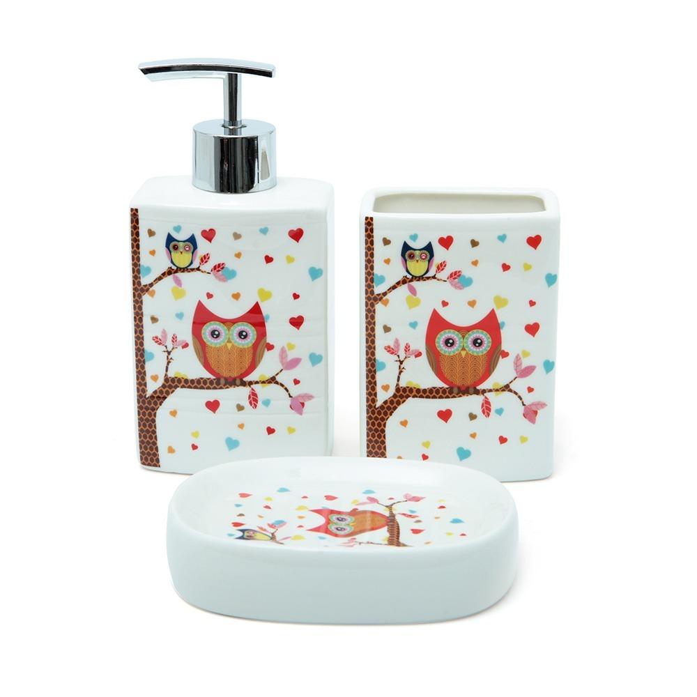 Kit Higiene Para Banheiro Infantil : Kit banheiro porta sabonete l?quido corujinha infantil