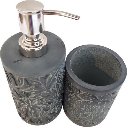 kit banheiro porta sabonete liquido, escova e pasta em pedra