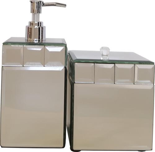 kit banheiro porta sabonete liquido pote tampa espelho claro