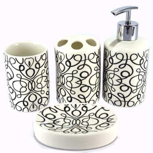 kit banheiro saboneteira utensílios porcelana - 20094