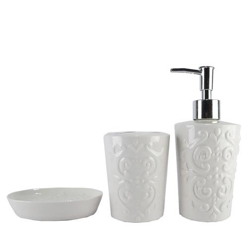 kit banheiro saboneteira utensílios porcelana - 446