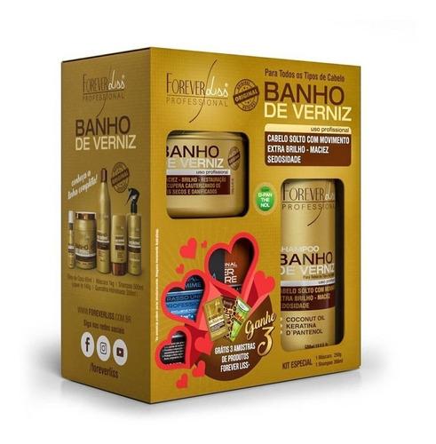 kit banho de verniz shampoo 300ml, máscara 250g forever liss