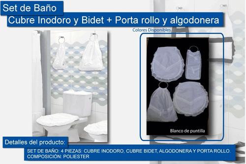 kit baño cubre bidet + inodoro + algodonera pta rollo blanco