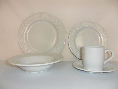 kit banquetes de loza emboss platos,tazas 120 piezas blanca