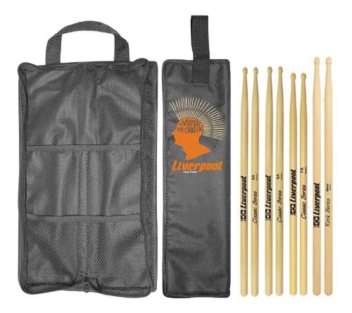 kit baqueta 5a 7a e metal profissional + bag com01 liverpool