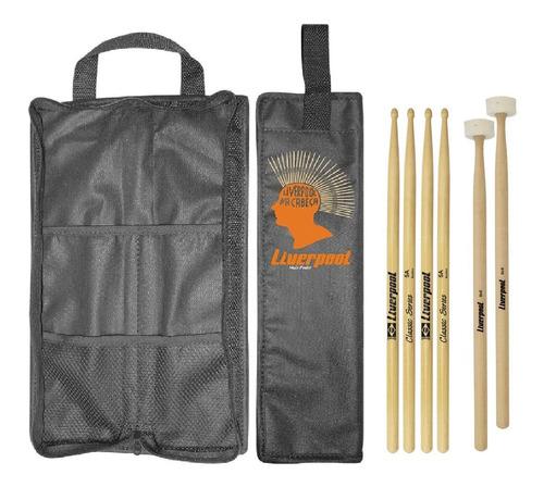 kit baqueta 5a classic + mallet feltro + bag preto liverpool