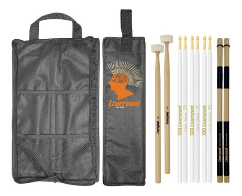 kit baqueta color 7a + malet feltro + acoustic roods + bag