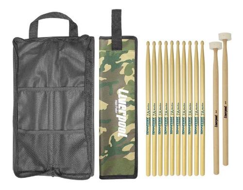 kit baquetas 7a + malet feltro + bag com02 liverpool