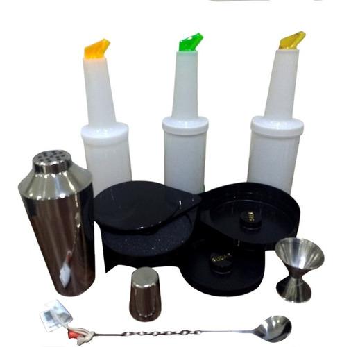 kit bar 7 coctelera sharker escarchador mezclacores mixologo