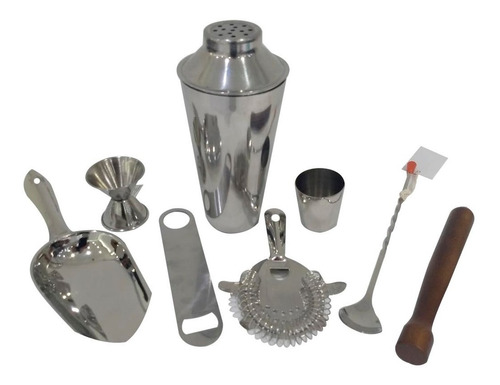 kit bar barman 7 piezas coctelera mortero shaker mixolgo